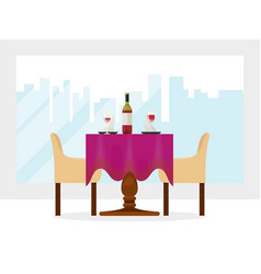 reserved modern restaurant table with tablecloth vector image