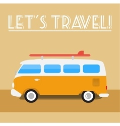 Retro travel-bus with surf board vector