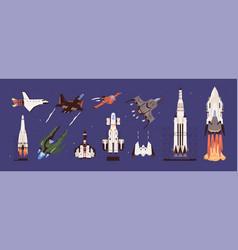 rockets and spaceships set spacecraft vector image