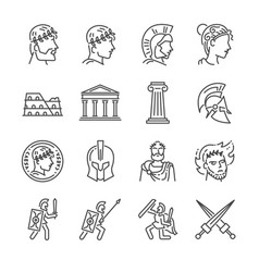 Roman empire line icon set vector