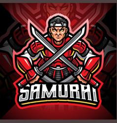 samurai esport mascot logo design vector image