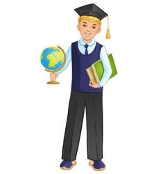 Schoolboy with globe and books eps10 vector