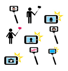 Selfie stick with mobile or cell phone icons set vector