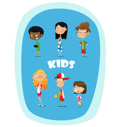 set of 8 cute happy cartoon kids vector image