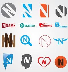 Set of alphabet symbols of letter N vector image