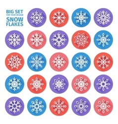 set of icons of snowflakes flat design with long vector image