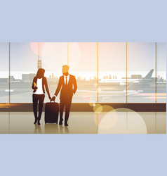 Silhouette couple in airport waiting hall vector