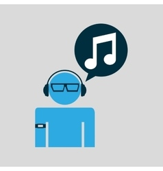 Silhouette wearable technology music vector