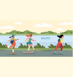 skate park people skating or skateboarding vector image