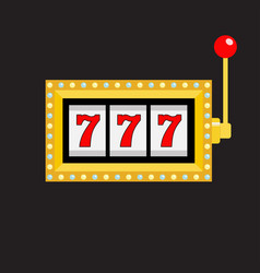 slot machine golden color glowing lamp light 777 vector image