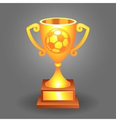Soccer ball trophy gold cup bacground vector