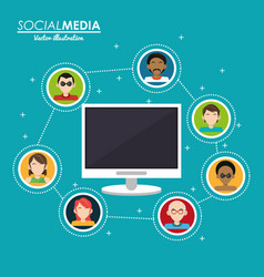 Social media group interaction computer digital vector