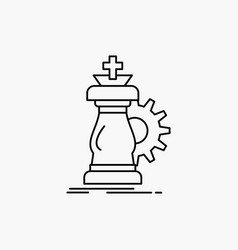 strategy chess horse knight success line icon vector image