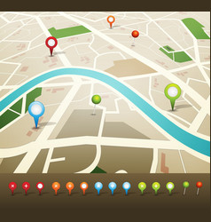 street map with gps pins icons vector image