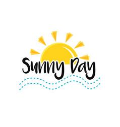 sun sea end text sunny day concept summer vector image