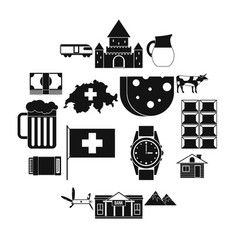 Switzerland icons set simple style vector