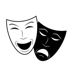Theater icon with happy and sad masks stock vector