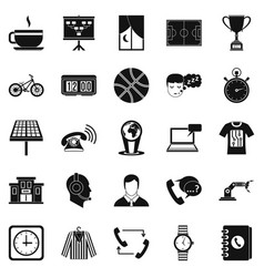 Timepiece icons set simple style vector