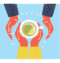 top view tea and coffee lovers vector image