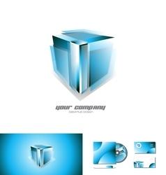 Transparent blue 3d cube logo icon design vector