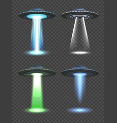 Ufo lights futuristic spaceship spotlight vector