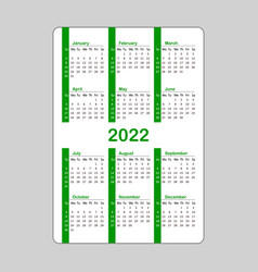 Vertical green pocket calendar on 2022 year vector