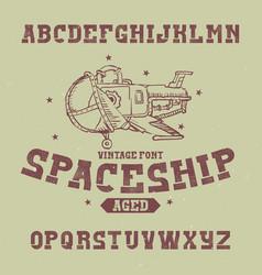 Vintage label font named spaceship vector