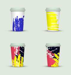 watercolor take away coffee cup creative design vector image