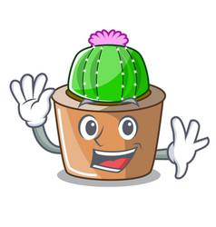 Waving cartoon star cactus plants at cactus farm vector