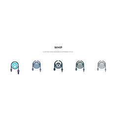 Whip icon in different style two colored and vector
