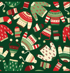 winter clothes seamless holiday pattern vector image