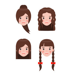 Woman and hairstyles set vector