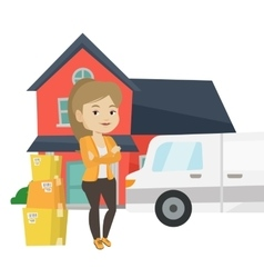 Woman moving to house vector