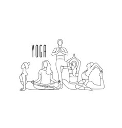 woman practices yoga and takes poses line art vector image