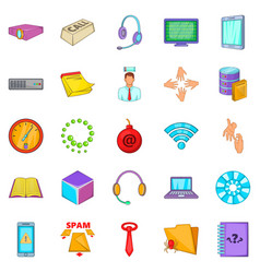 workshop icons set cartoon style vector image