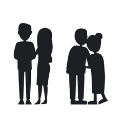 young and old familys silhouettes abstract banner vector image