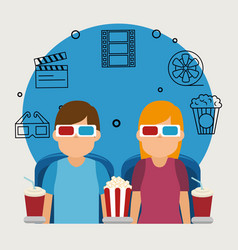 young people with glasses 3d and cinema icons vector image