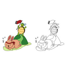 Educational coloring book-turtle and rabbit vector