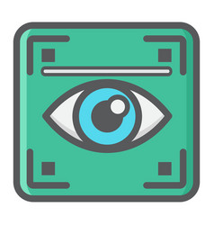 Eye scan colorful line icon iris scanner vector