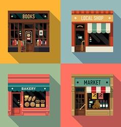 Local Shops Shopfront Icon Set vector image vector image