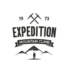 mountain expedition label with climbing symbols vector image vector image