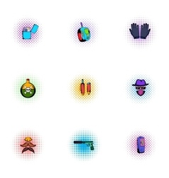 Search Illegal action icons set pop-art style vector image vector image