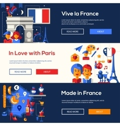 France travel banners set with famous French vector image vector image