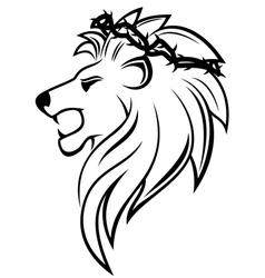 heraldic lion with thorny wreath vector image vector image