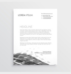 letterhead design with abstract black wave effect vector image vector image