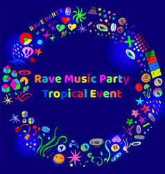 rave music party event hand-drawn elements vector image