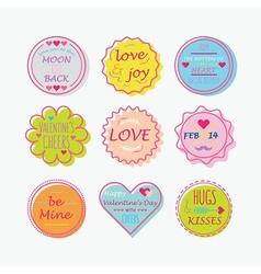 Valentines day colorful line emblem set vector image