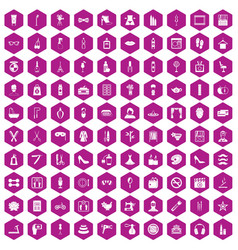 100 beauty and makeup icons hexagon violet vector image