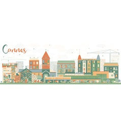 Abstract Cannes Skyline with Color Buildings vector image vector image