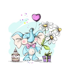 Cute and funny baby elephant with gifts vector image vector image